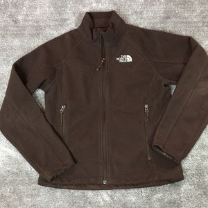 The north face brown fleece zip up jacket small